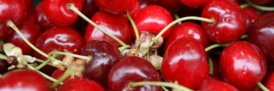 Helado de yogur con cerezas